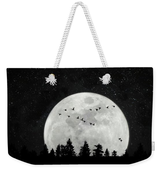 By The Light Of The Silvery Moon - Birds  Weekender Tote Bag