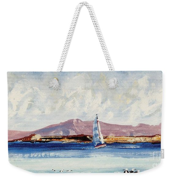 Weekender Tote Bag featuring the mixed media By The Lighthouse by Writermore Arts