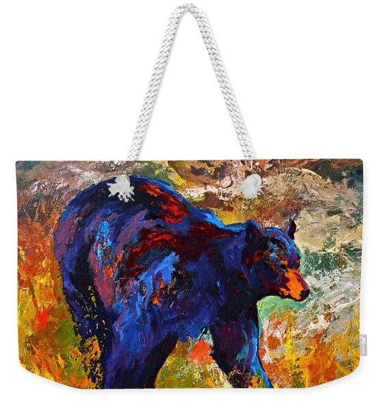By The River - Black Bear Weekender Tote Bag
