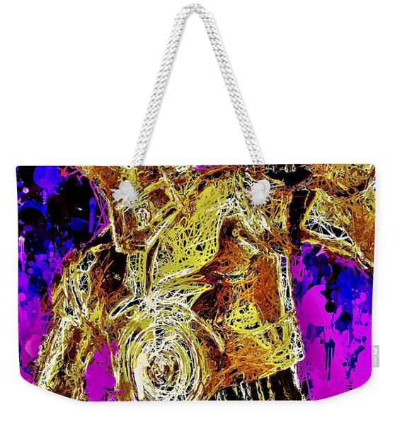 Weekender Tote Bag featuring the mixed media  C-3po by Matra Art