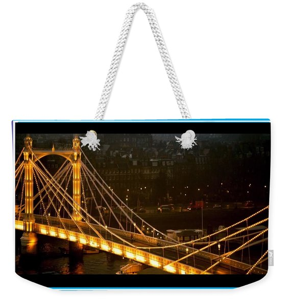 Cable-stayed Gold Sparkle Bridge At Night In London Weekender Tote Bag