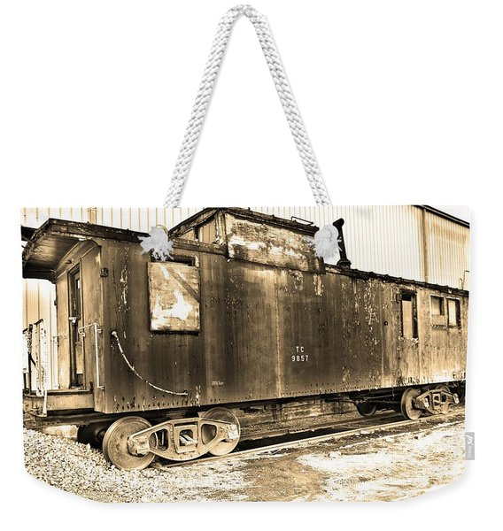 Caboose Black And White Weekender Tote Bag