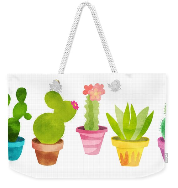 Cactus Plants In Pretty Pots Weekender Tote Bag