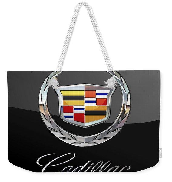 Cadillac - 3 D Badge On Black Weekender Tote Bag