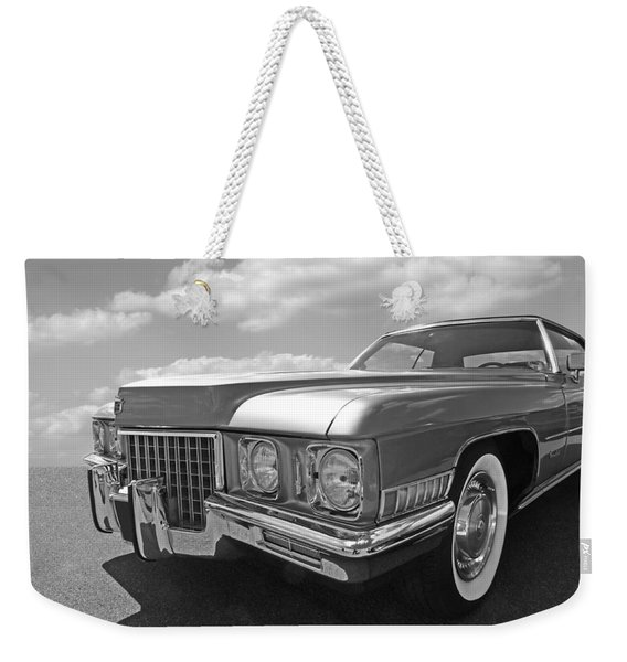 Cadillac Coupe De Ville 1971 In Black And White Weekender Tote Bag