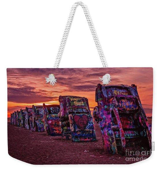 Cadillac Ranch At Sunrise  Weekender Tote Bag