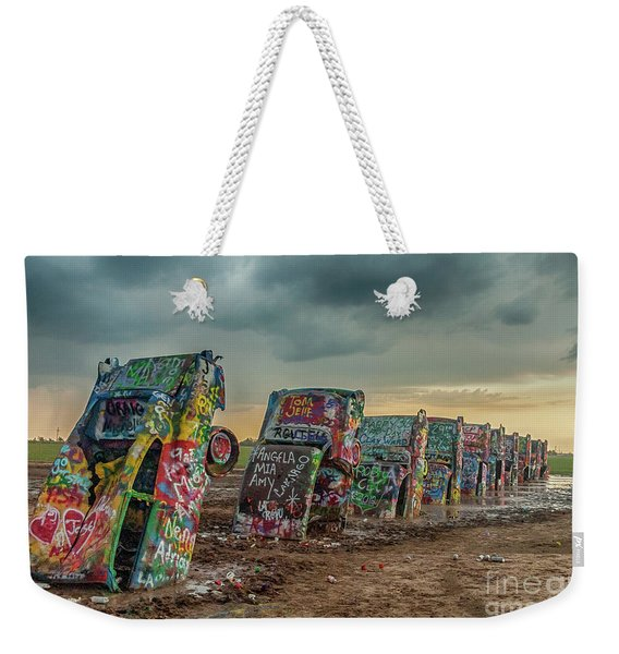 Cadillac Ranch Before The Rain Weekender Tote Bag
