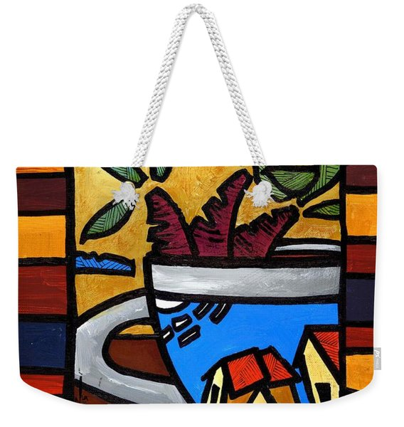 Weekender Tote Bag featuring the painting Cafe Caribe  by Oscar Ortiz