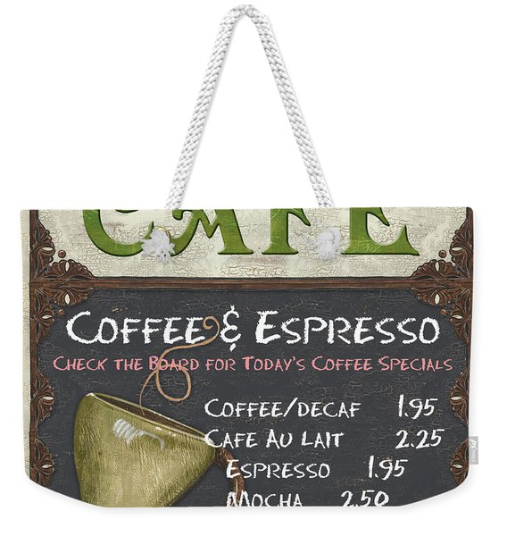 Cafe Chalkboard Weekender Tote Bag