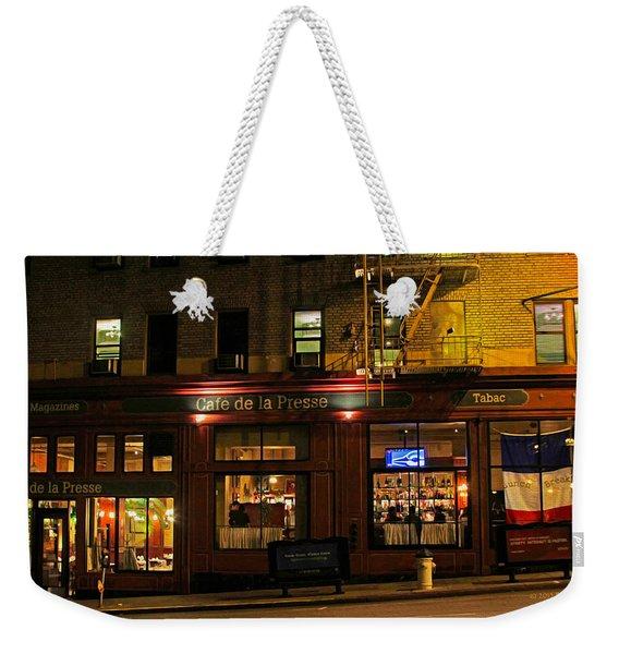 Cafe De La Presse On Bush St Weekender Tote Bag