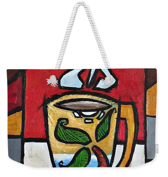 Weekender Tote Bag featuring the painting Cafe Palmera by Oscar Ortiz