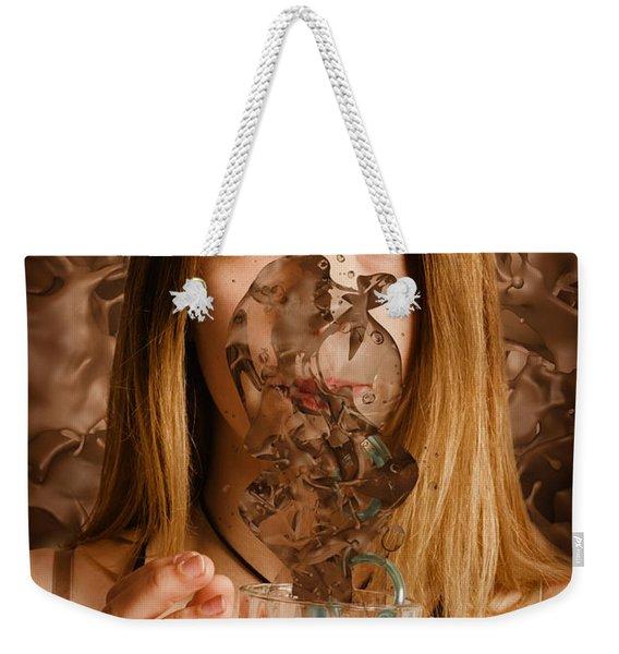 Cafe Tin Sign Girl Drinking Chocolate Milkshake Weekender Tote Bag