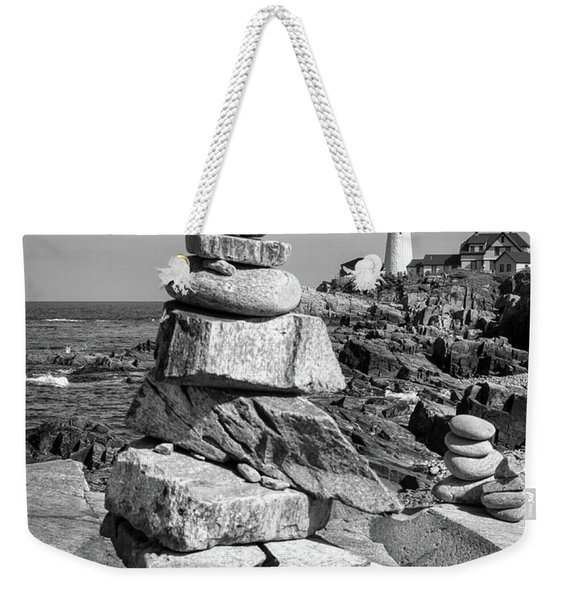 Weekender Tote Bag featuring the photograph Cairn And Lighthouse  -56052-bw by John Bald