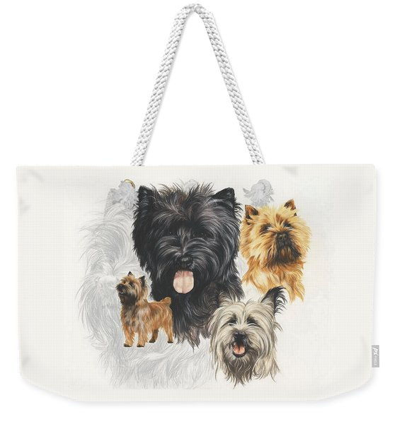 Weekender Tote Bag featuring the mixed media Cairn Terrier Revamp by Barbara Keith