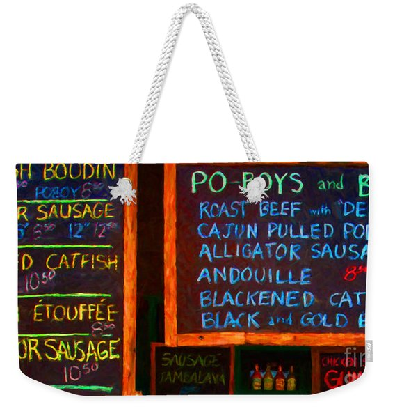 Cajun Menu Alligator Sausage Poboy - 20130119 Weekender Tote Bag