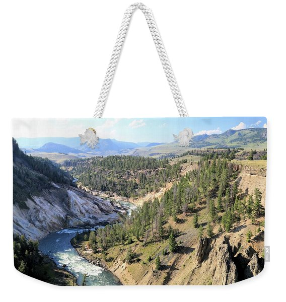 Calcite Springs Along The Bank Of The Yellowstone River Weekender Tote Bag
