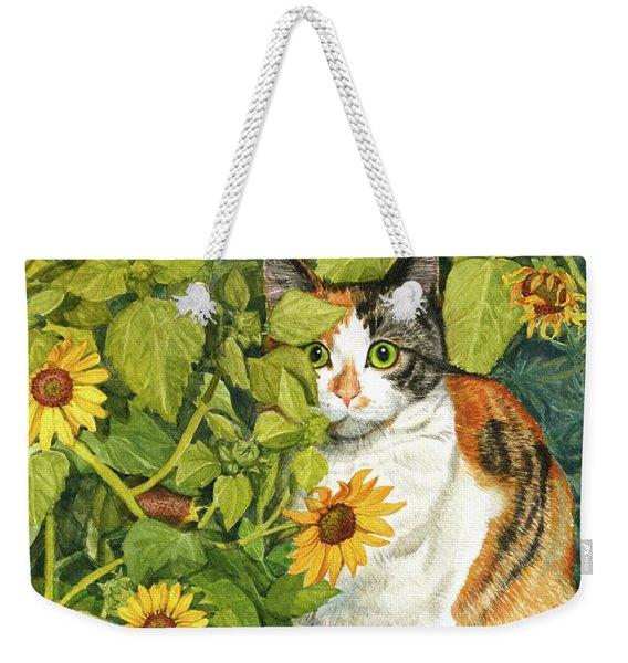 Calico Cat Hiding In Sunflowers Weekender Tote Bag