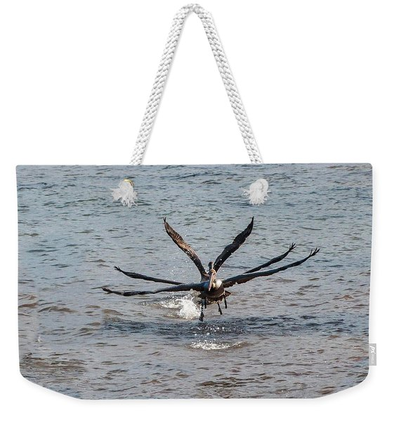 California Brown Pelicans Flying In Tandem Weekender Tote Bag