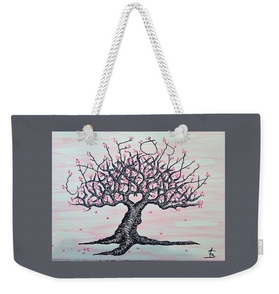 Weekender Tote Bag featuring the drawing California Cherry Blossom Love Tree by Aaron Bombalicki