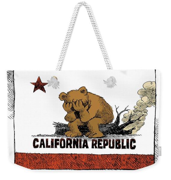 California Fire Bear Grieves Weekender Tote Bag