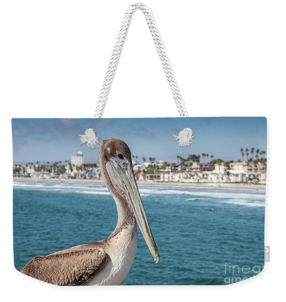 Weekender Tote Bag featuring the photograph California Pelican by John Wadleigh