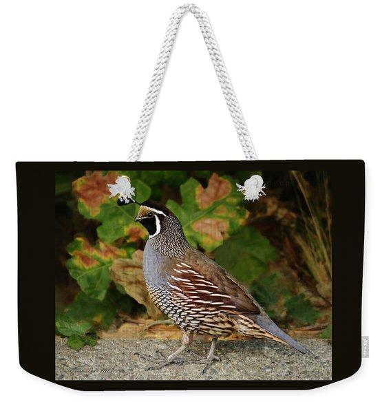 California Quail Rooster Weekender Tote Bag