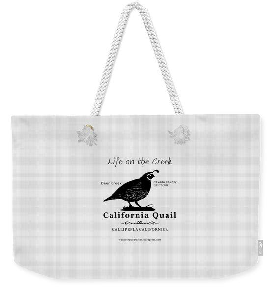 California Quail - White Weekender Tote Bag
