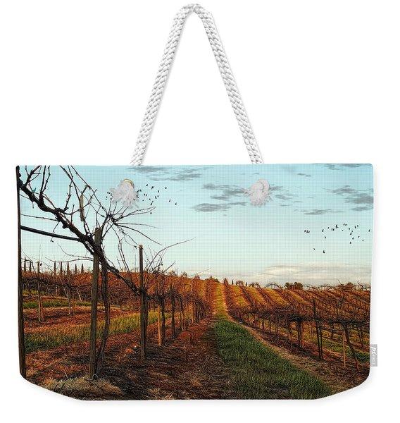 California Vineyard In Winter Weekender Tote Bag
