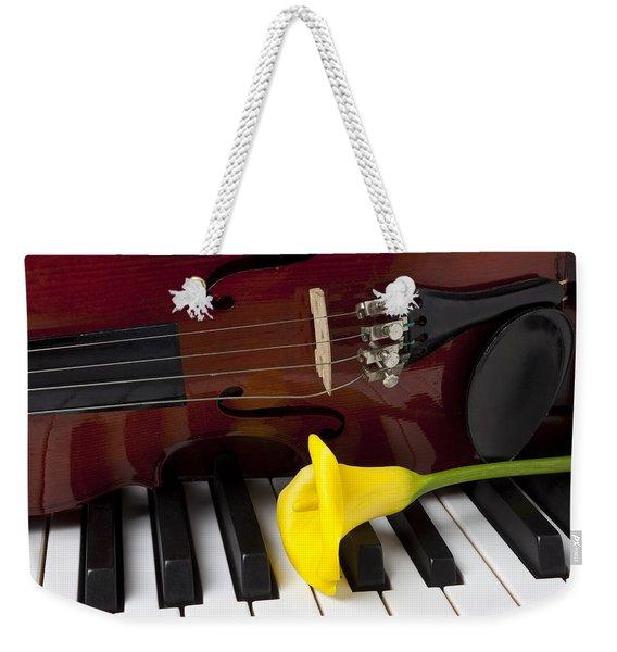 Calla Lily And Violin On Piano Weekender Tote Bag