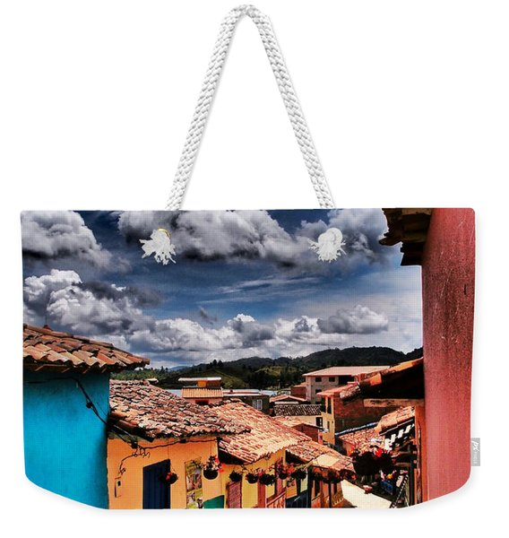 Weekender Tote Bag featuring the photograph Calle De Colores by Skip Hunt