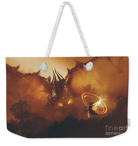 Weekender Tote Bag featuring the painting Calling Of The Dragon by Tithi Luadthong