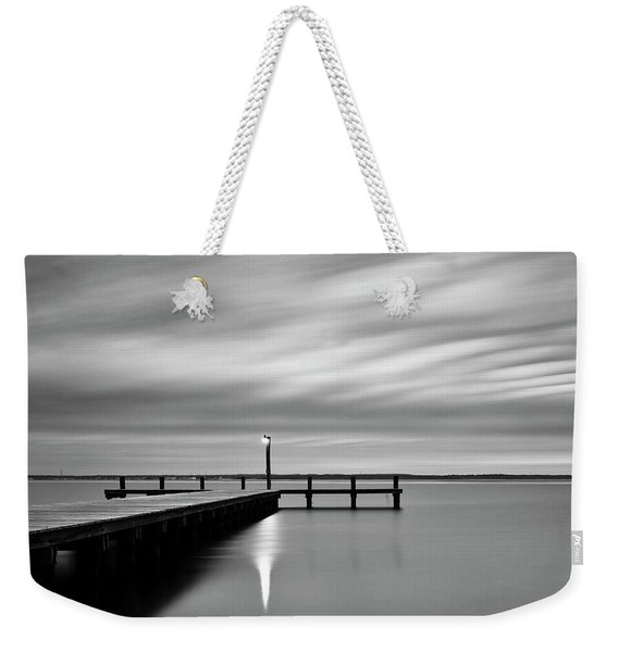 Calm Barnegat Bay New Jersey Black And White Weekender Tote Bag