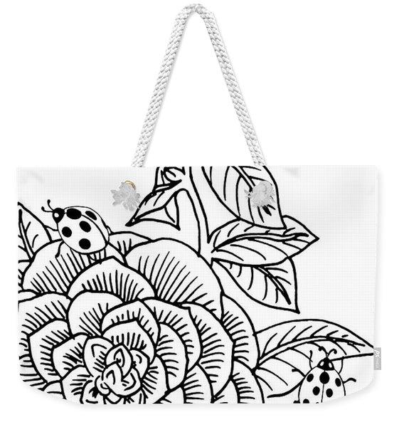Camellia And Ladybugs Drawing  Weekender Tote Bag