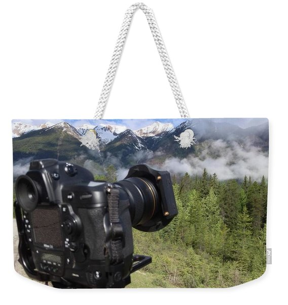 Camera Mountain Weekender Tote Bag