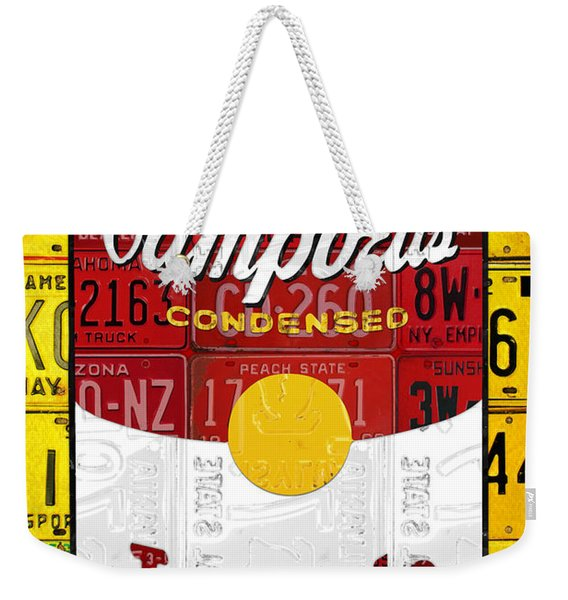 Campbells Tomato Soup Can Recycled License Plate Art Weekender Tote Bag