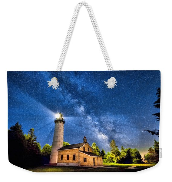 Cana Island Lighthouse Milky Way In Door County Wisconsin Weekender Tote Bag