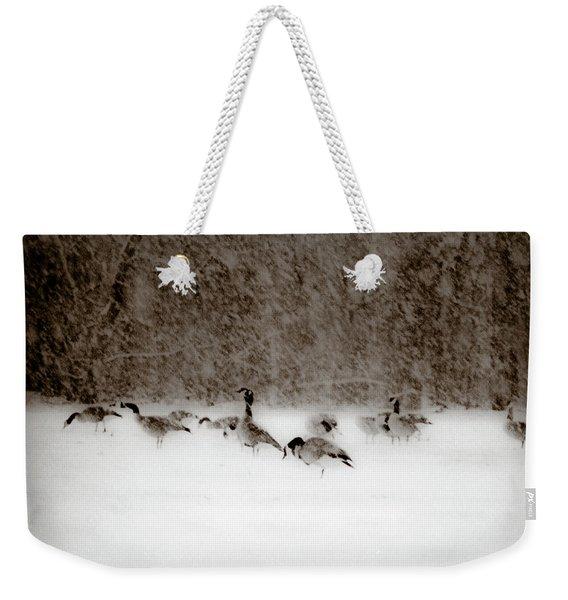 Canada Geese Feeding In Winter Weekender Tote Bag