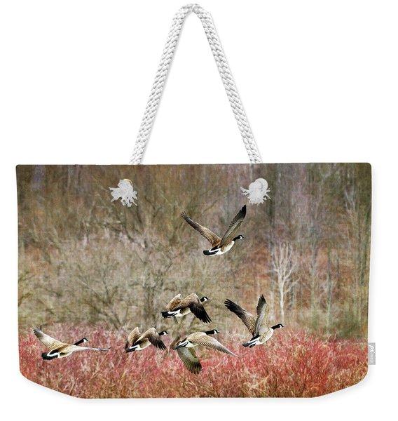 Canada Geese In Flight Weekender Tote Bag