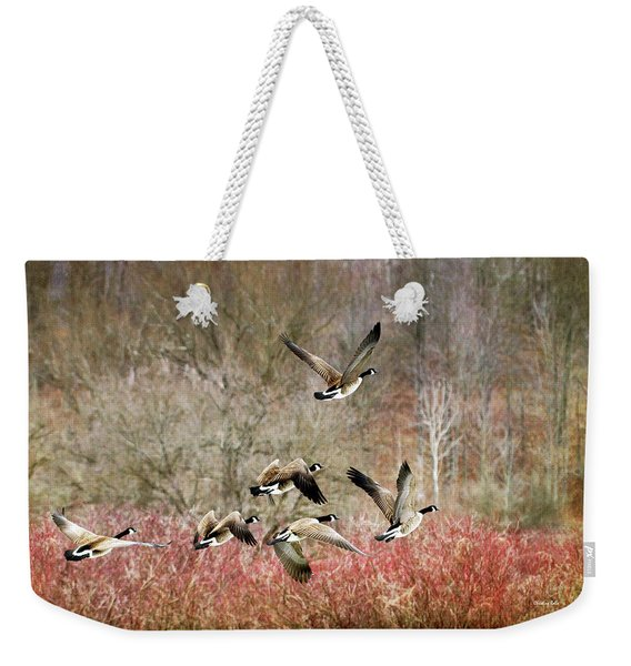 Canada Geese In Flight Weekender Tote Bag
