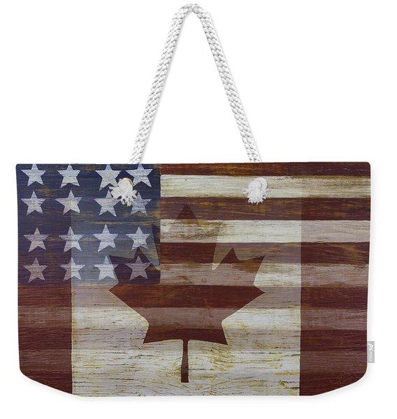 Canadian American Flag Weekender Tote Bag