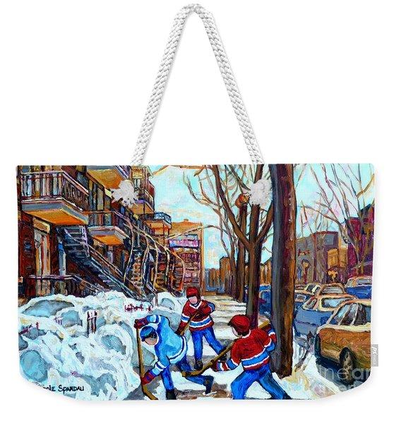 Canadian Art Street Hockey Game Verdun Montreal Memories Winter City Scene Paintings Carole Spandau Weekender Tote Bag