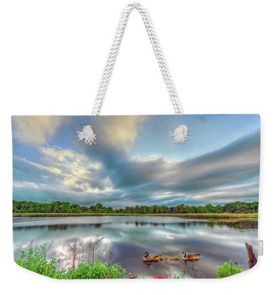 Canadian Geese On A Marylamd Pond Weekender Tote Bag