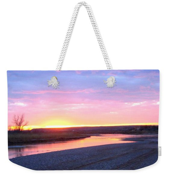 Weekender Tote Bag featuring the photograph Canadian River Sunset by Deleas Kilgore