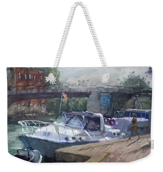 Canadian Yacht At Tonawanda Harbor Weekender Tote Bag