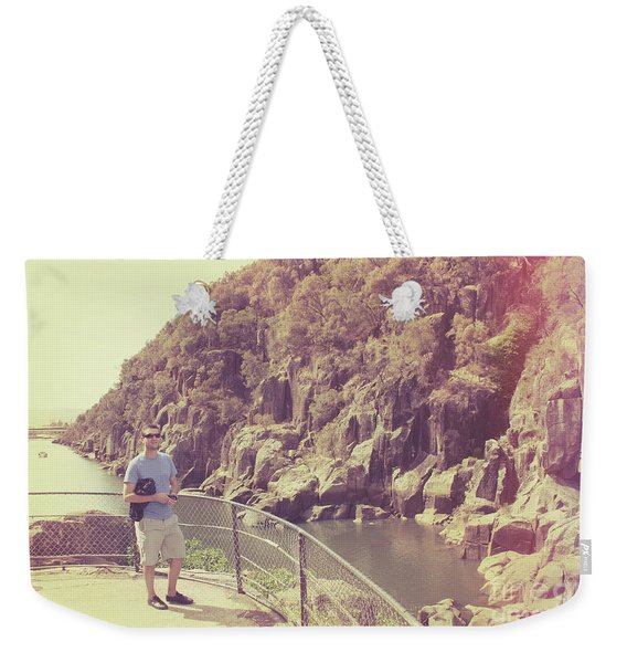 Candid Retro Man On Travel Tour Of Tasmania Weekender Tote Bag