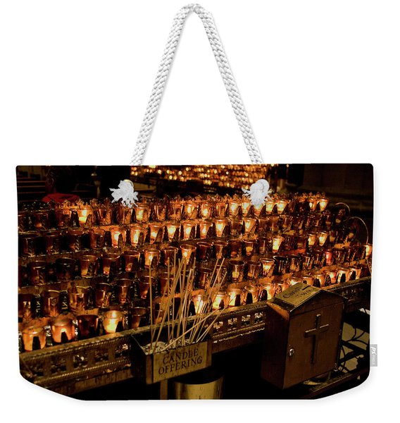Weekender Tote Bag featuring the photograph Candle Offerings St. Patrick Cathedral by Lorraine Devon Wilke