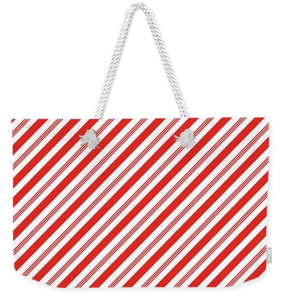 Candy Canes Stripes- Art By Linda Woods Weekender Tote Bag