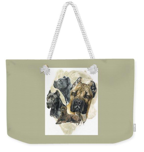 Weekender Tote Bag featuring the mixed media Cane Corso Medley by Barbara Keith