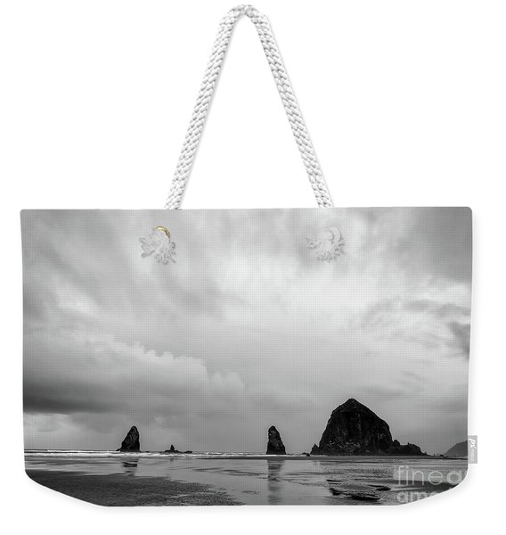 Cannon Beach In Black And White Weekender Tote Bag