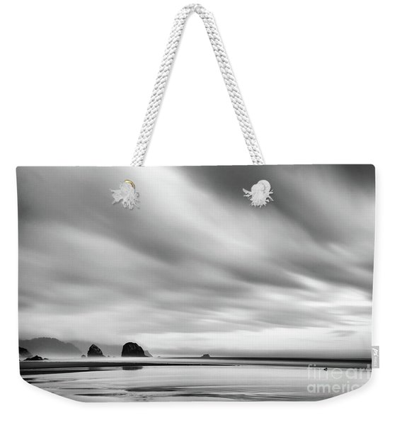 Cannon Beach Long Exposure Sunrise In Black And White Weekender Tote Bag